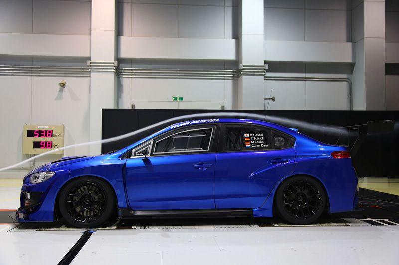 Испытания Subaru WRX STI на аэродинамическом стенде